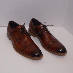 Stacy Adams cognac brown lace up cap toe shoes NEW